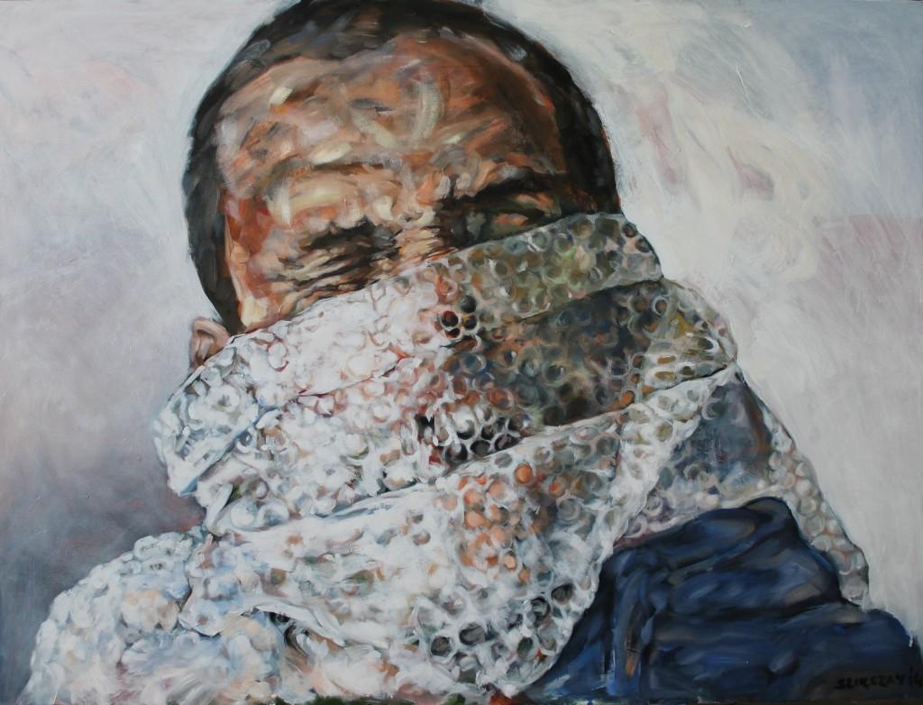 yawning man acrylic on canvas 90x120 cm 2014